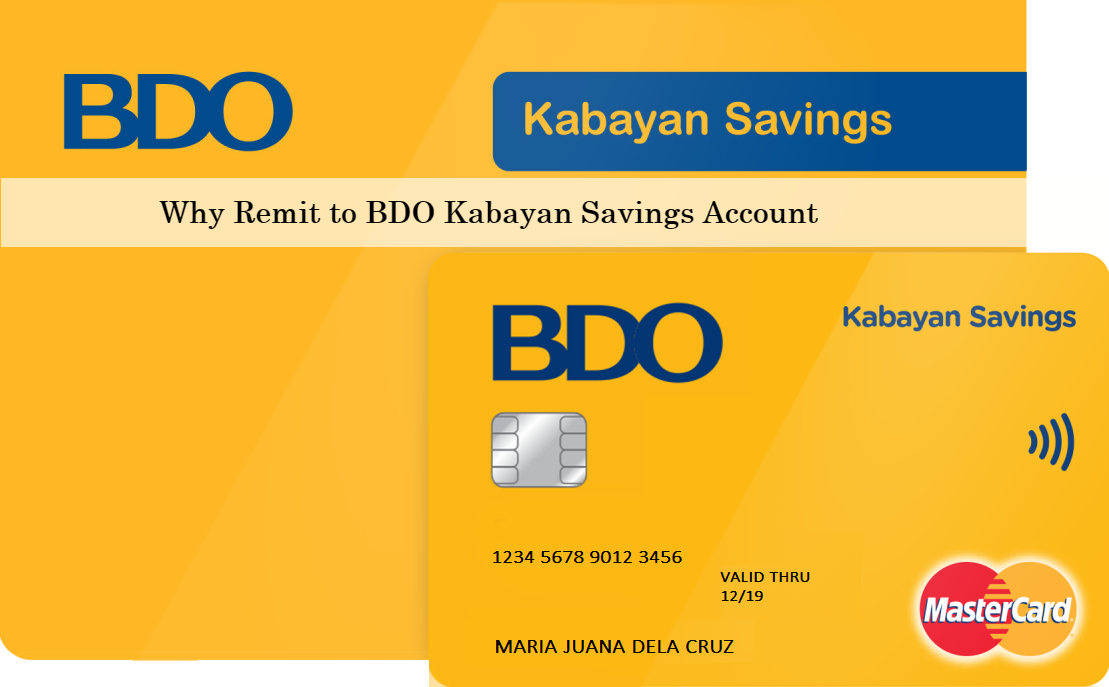 how to send money to bdo account from usa